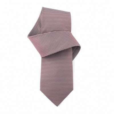 Jedwabny krawat brązowo-fioletowy w paski Nº16