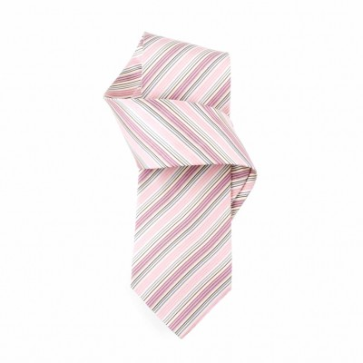 Jedwabny krawat różowo-bordowy w paski Nº15