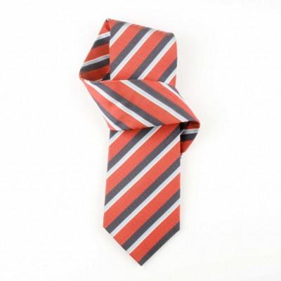 Jedwabny krawat czerwony w paski Nº21