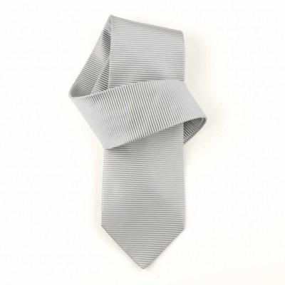 Jedwabny krawat popielaty w paski Nº24