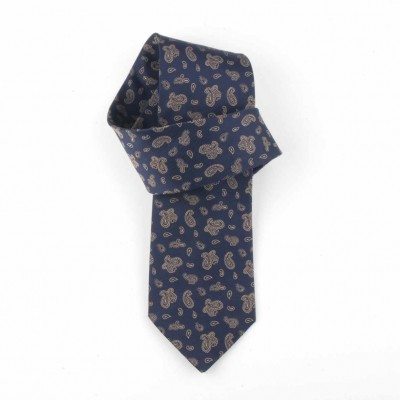 Jedwabny krawat granatowy we wzorki (paisley) Nº25