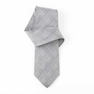 Jedwabny krawat popielaty w kratę Nº30