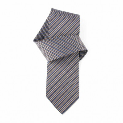 Jedwabny krawat brązowo-niebieski Nº34