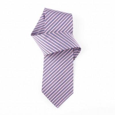Jedwabny krawat fioletowy w paski Nº36