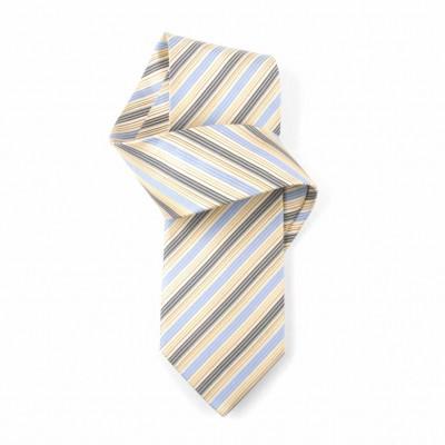 Jedwabny krawat niebiesko-żółty w paski Nº41