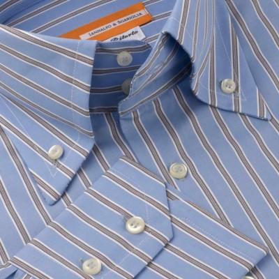 Koszula niebieska Fantasia Rigato Celeste M07 N° 7035/4 Slim-fit