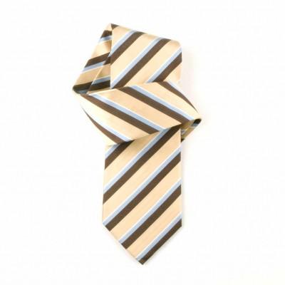 Jedwabny krawat żółto-brązowy w paski Nº19