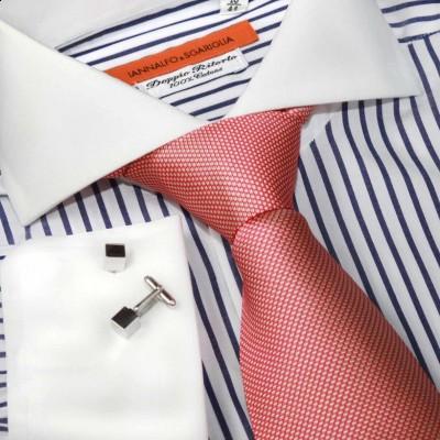 Koszula biała slim-fit w paski Rigato Bianco e Viola M24 N° 235/3