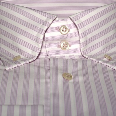 Koszula biała w paski slim-fit M07 nr 18