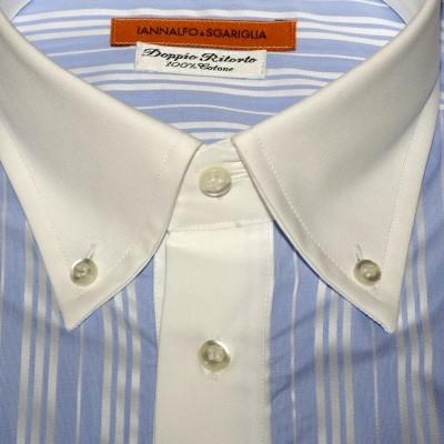 Koszula błękitna z białym kołnierzykiem slim-fit N°92