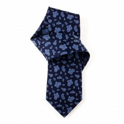 Jedwabny krawat granatowy we wzorki (paisley) Nº4