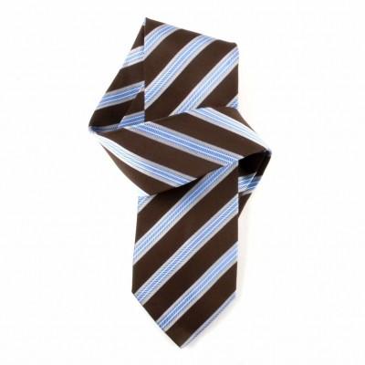 Jedwabny krawat brązowo-niebieski w paski Nº7
