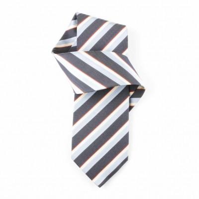 Jedwabny krawat grafitowo-niebieski w paski Nº12
